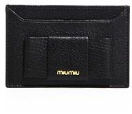 Miu Miu Miu Miu Madras Bicolor Leather Bow Card Case