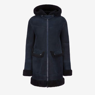 Bally Shearling Parka Jacket Blue, Women's lamb shearling parka jacket in ink