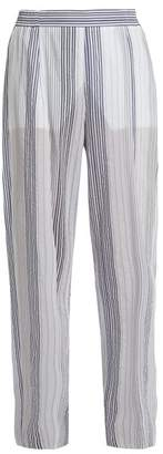 Stella McCartney High Rise Wide Leg Striped Trousers - Womens - White Multi