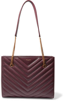 Saint Laurent Tribeca Small Quilted Textured-leather Tote - Burgundy