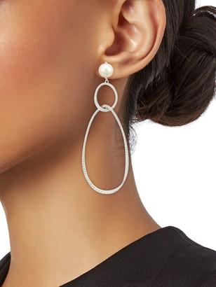 Adriana Orsini Silvertone, 7MM Round Pearl & Crystal Drop Earrings