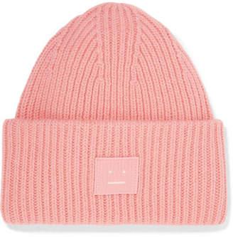 Acne Studios Pansy Appliquéd Ribbed Wool Beanie - Pink