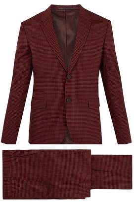 Valentino - Notch Lapel Gingham Wool Blend Suit - Mens - Red