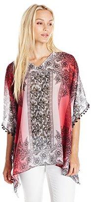Buffalo David Bitton Women's Scarftan Ombre Scarf Print Chiffon Top New Cut 4/6 ETA $69 thestylecure.com