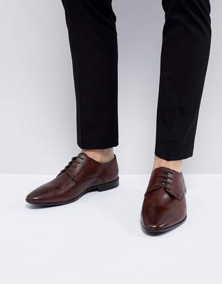 Asos Design Derby Brogue Shoes In Brown Leather