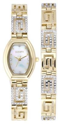 Elgin Women's Greek Key Watch and Bracelet Set