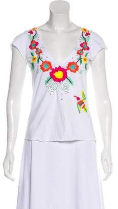 Johnny Was Embroidered Short-Sleeve Top