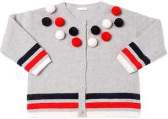 Il Gufo Pompoms Wool Knit Cardigan