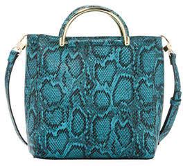 Neiman Marcus Ardi Snake-Print Crossbody Satchel Bag