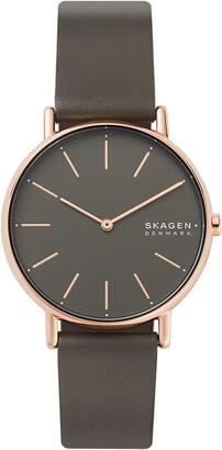Skagen Signatur Leather Strap Watch, 38mm