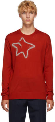 Acne Studios Red Merino Wool Star Crewneck Sweater