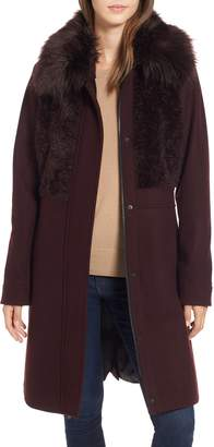 Rachel Roy Faux Fur Trim Coat