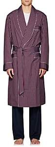 Barneys New York Men's Striped Cotton Poplin Robe - Red