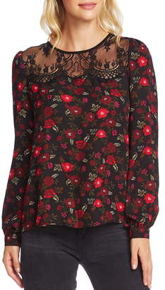 Vince Camuto Forest Bouquet Sheer Yoke Lace Trim Blouse