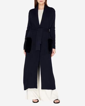 N.Peal Long Fur Pocket Basketweave Cashmere Cardigan