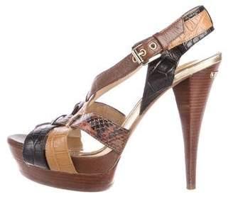 Michael Kors Snakeskni-Trimmed Platform Sandals