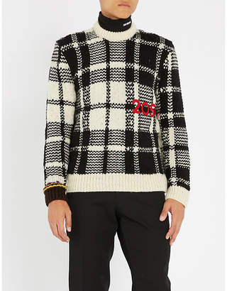 Calvin Klein Checked cable-knit wool jumper