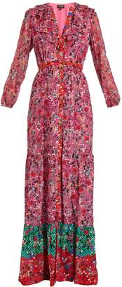 Saloni Ginny floral-print silk-crepe dress