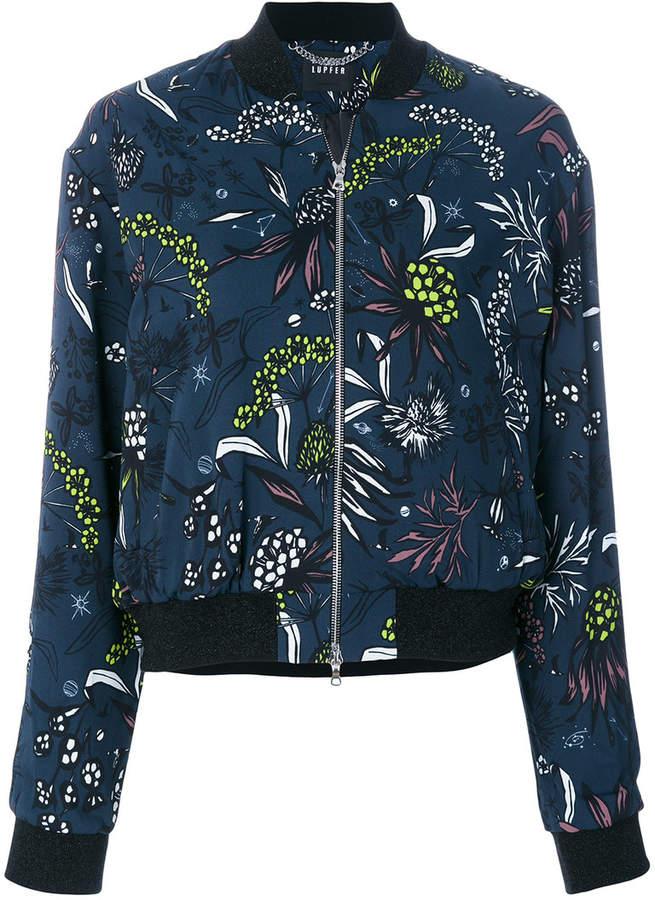 Twill-Jacke mit Blumen-Print