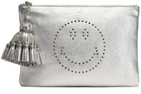 Anya Hindmarch Georgiana Perforated Metallic Textured-Leather Clutch