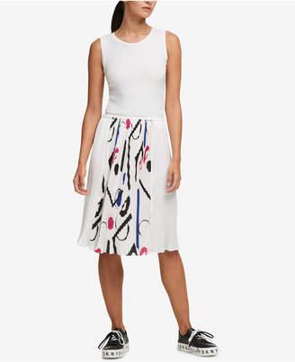 DKNY Pleated Ribbon-Trim Dress, Created for Macy's