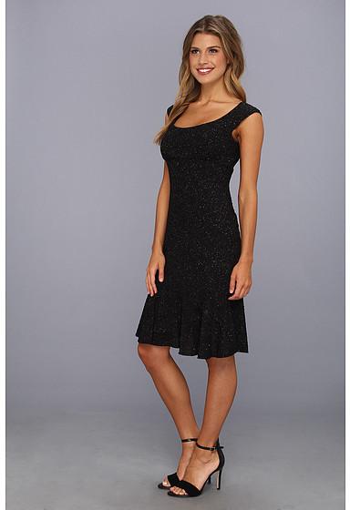 London Times Cap Sleeve Drop Waist Dress