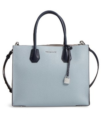 Michael Michael Kors Large Mercer Colorblock Leather Tote - Blue $298 thestylecure.com