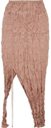 Juan Carlos Obando Crinkled Silk-satin Midi Skirt - Antique rose