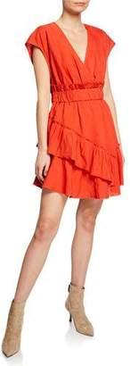 IRO Billow V-Neck Ruffle Linen Short Dress