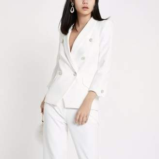 River Island Womens Ivory faux pearl double breasted blazer