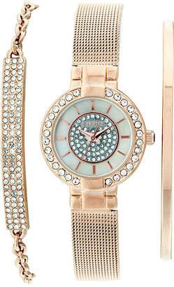 Elgin Womens Rose Gold Tone Bracelet And Watch Set Eg16008RGST