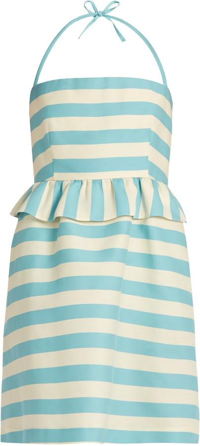 RED ValentinoREDVALENTINO Striped halterneck cotton-blend twill mini dress