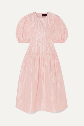 Simone Rocha Pintucked Taffeta Midi Dress