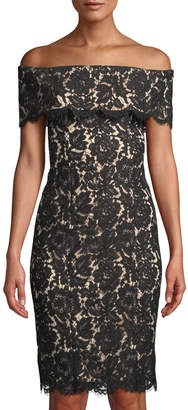 Eliza J Off-The-Shoulder Lace Illusion Dress