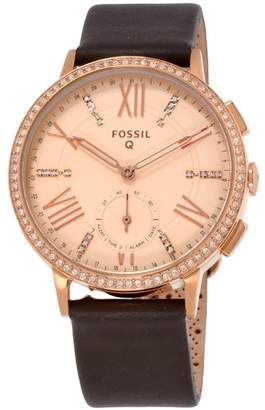 Fossil Q Gazer Rose Gold Dial Leather Strap Ladies Hybrid Smartwatch FTW1116