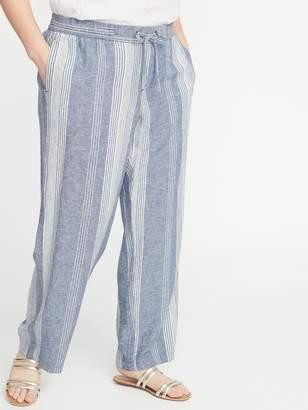 Old Navy Mid-Rise Plus-Size Wide-Leg Linen-Blend Pants