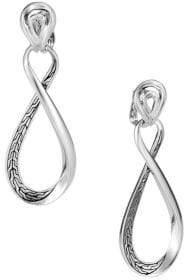 John Hardy Chain Silver Hoop Drop Earrings