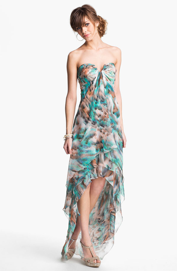 La Femme Tiered High/Low Chiffon Gown
