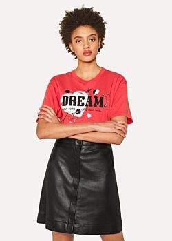 Paul Smith Women's Coral 'Dream' Print Cotton T-Shirt