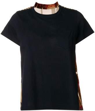 Sacai pleated tartan back T-shirt