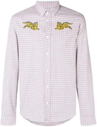 Kenzo embroidered tiger checked buttondown shirt