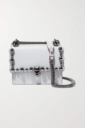 Fendi Kan I Embellished Leather Shoulder Bag - Light gray
