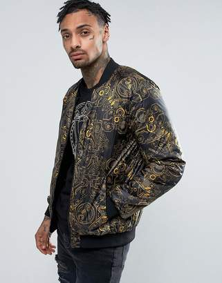 Versace Bomber Jacket With Mechanical Print
