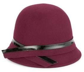 Giovannio Patent-Trim Wool Cloche Hat