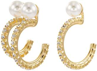 Swarovski Joomi Lim Mismatched faux pearl crystal hoop earrings