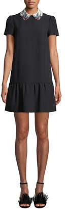 RED Valentino Short-Sleeve Crepe de Chine Drop-Waist Dress w/ Bird Collar