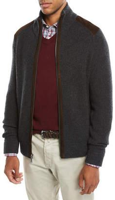 Neiman Marcus Men's Suede-Trim Zip-Front Sweater