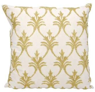 Nourison Luminecence Silver Fleur De Lis' Light Gold Throw Pillow