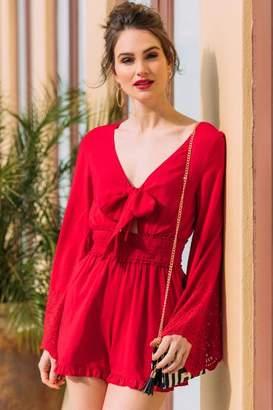 038f9e86dda766 francesca s Ashlynn Smocked Waist Romper - Red