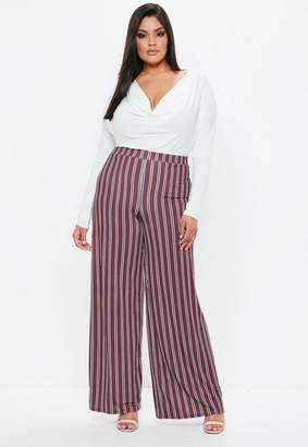 Missguided Curve Burgundy Striped Wide Leg Pants